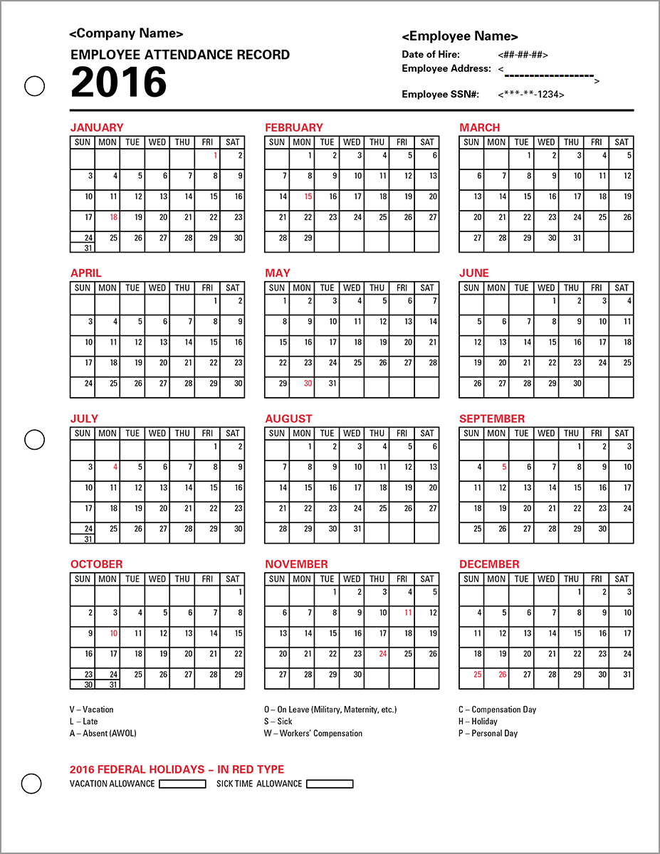Free Employee Attendance Calendar  Downloadable Attendance Sheet