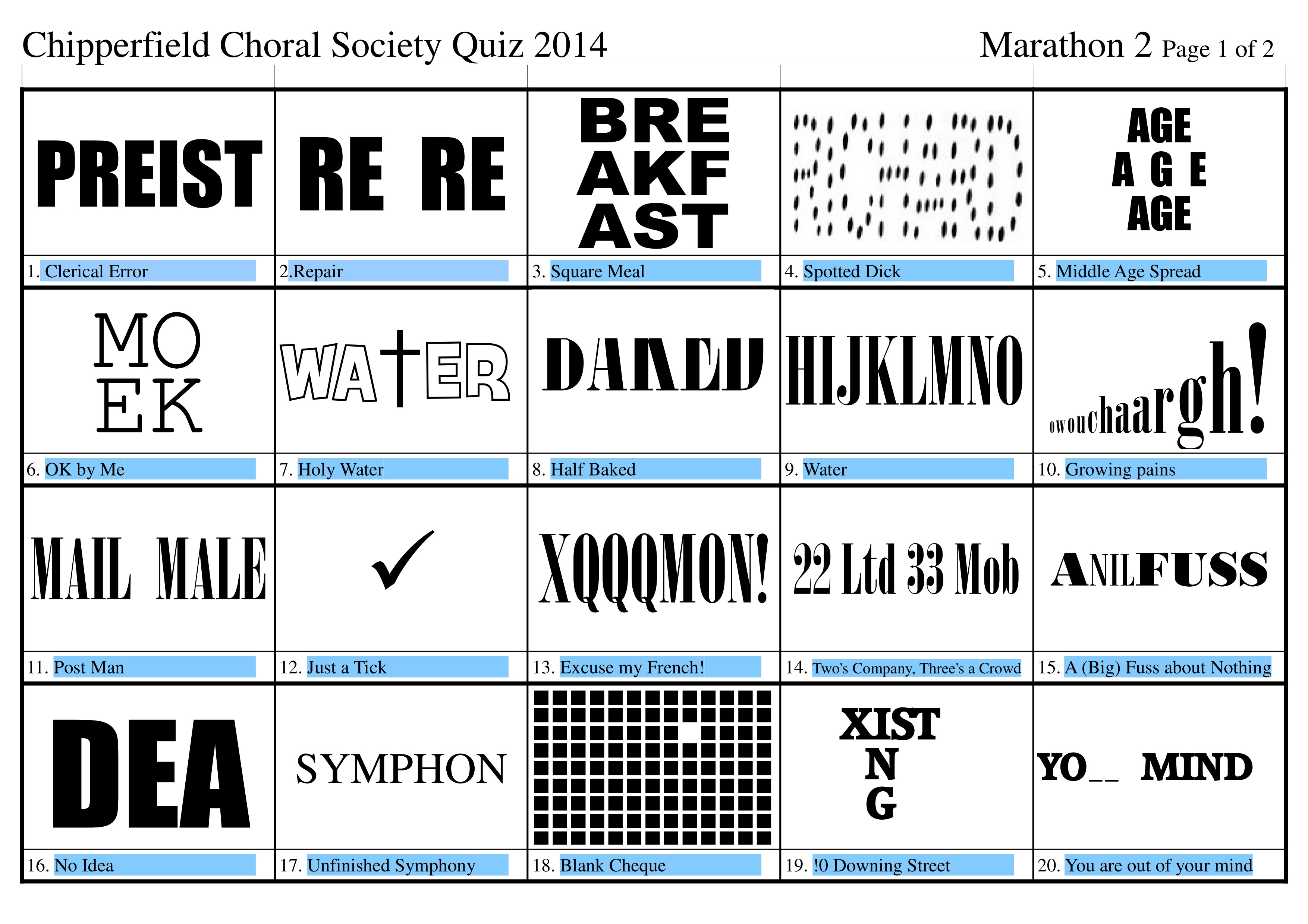 Dingbats Quiz with Answers