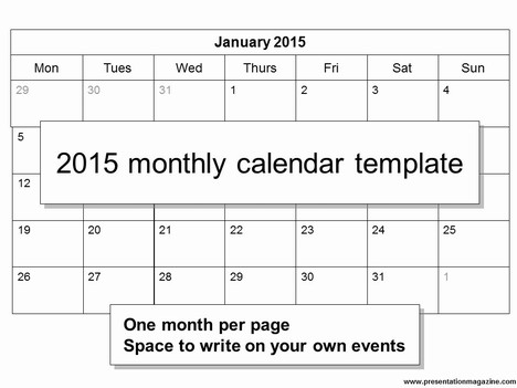 Printable 2015 Monthly Calendar mybissim