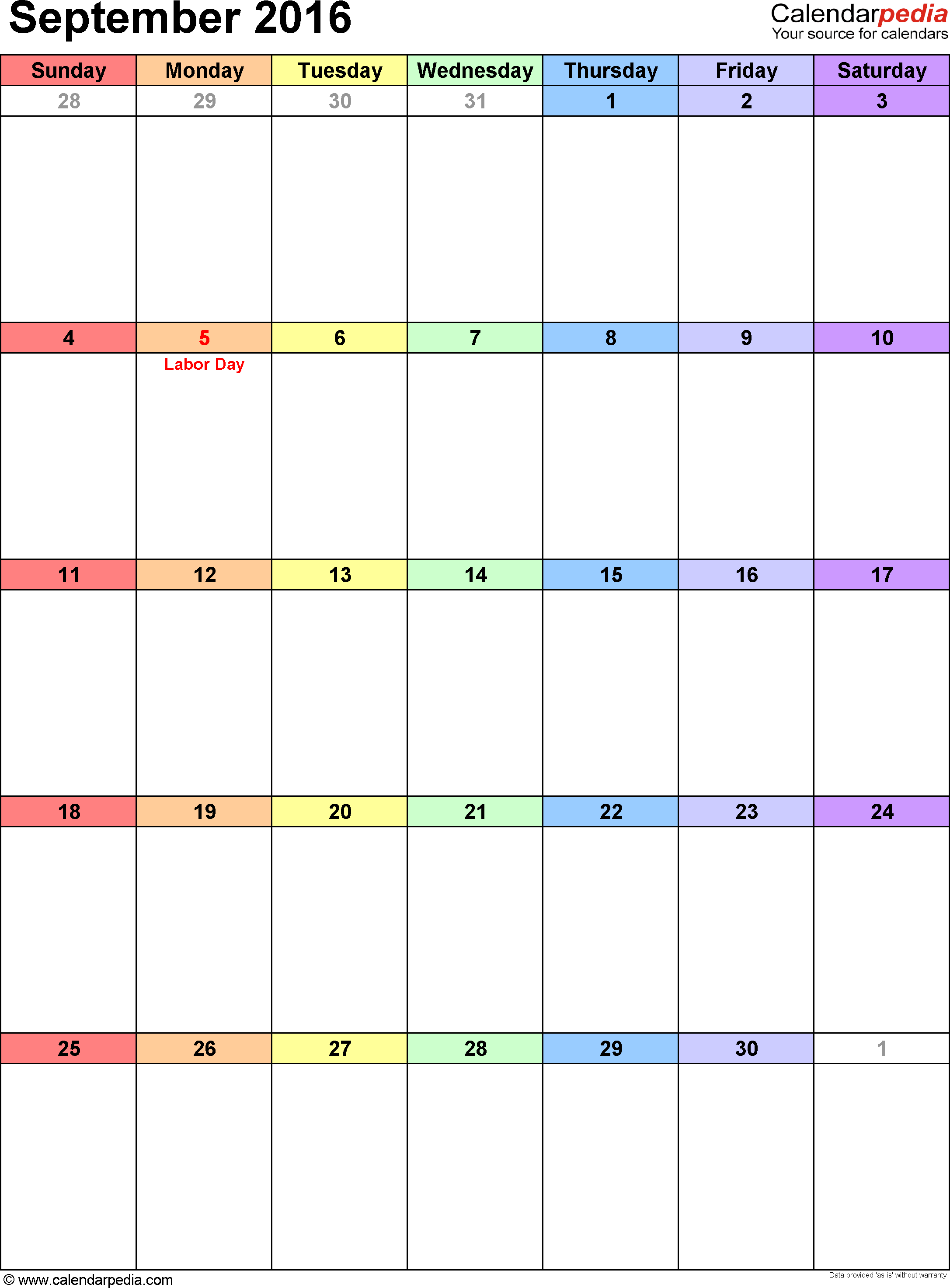 Free Printable Blank Monthly Calendar Templates