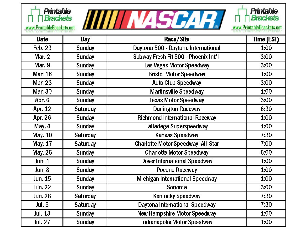 Nascar 2016 Schedule Related Keywords & Suggestions Nascar 2016