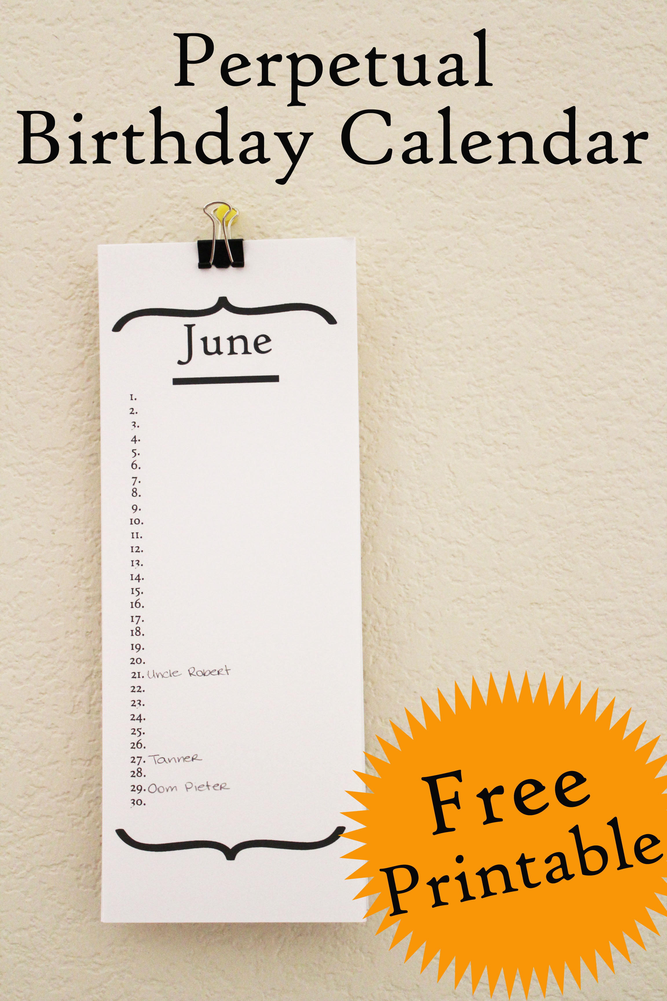 Free Birthday Calendar Printable 30 Minute Crafts