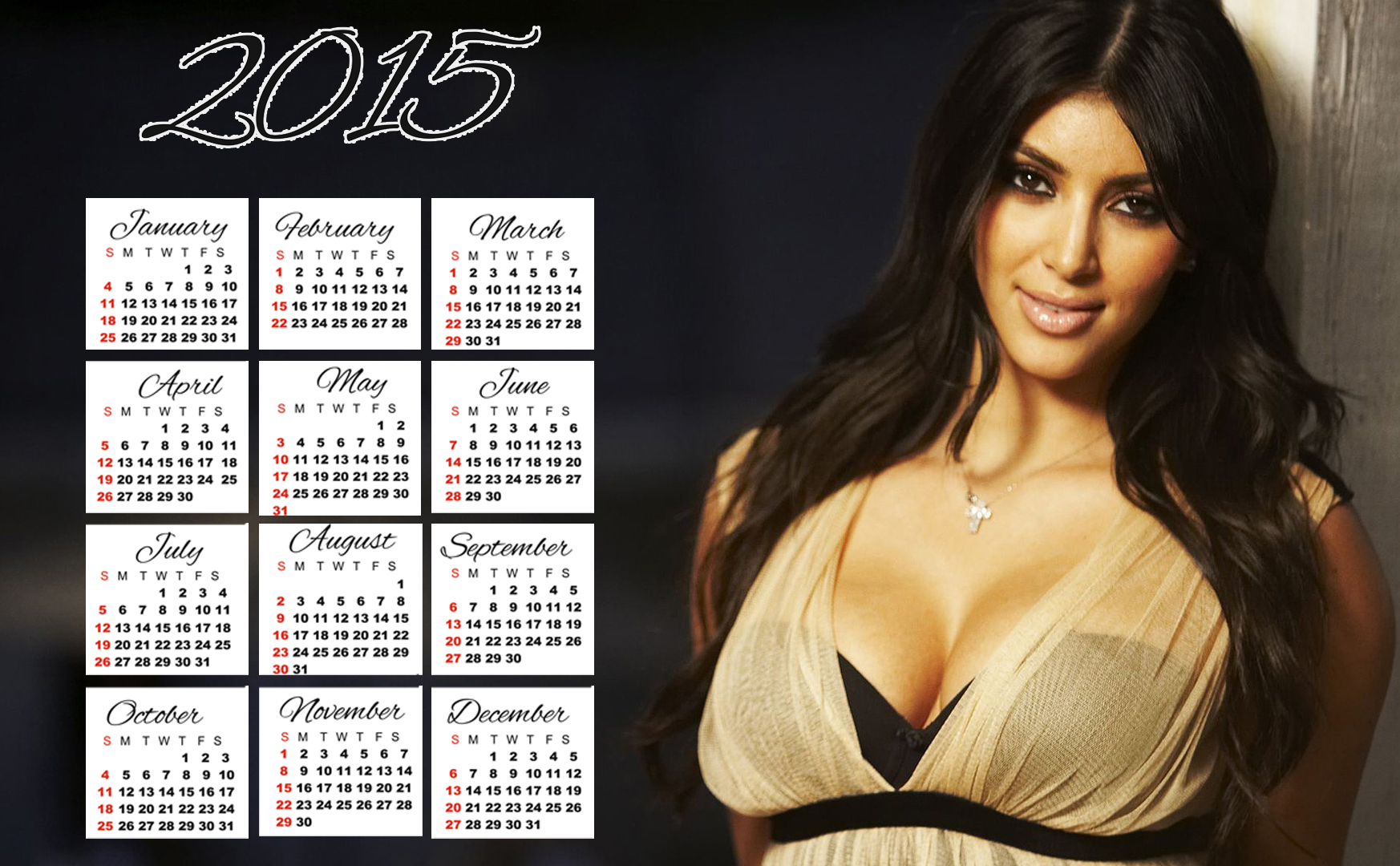 Women Celebrity 2015 Calendar Printable Wallpapers Free – Travel