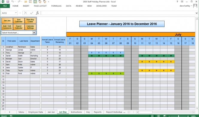 Staff Annual Leave Calendar 2016 | Calendar Template