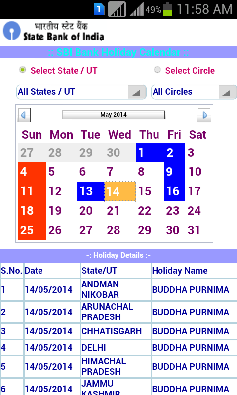 SBI Bank Holiday Calendar Android Apps on Google Play