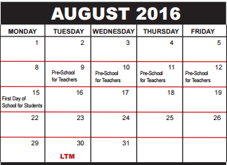 Okeeheelee Middle School School District Instructional Calendar