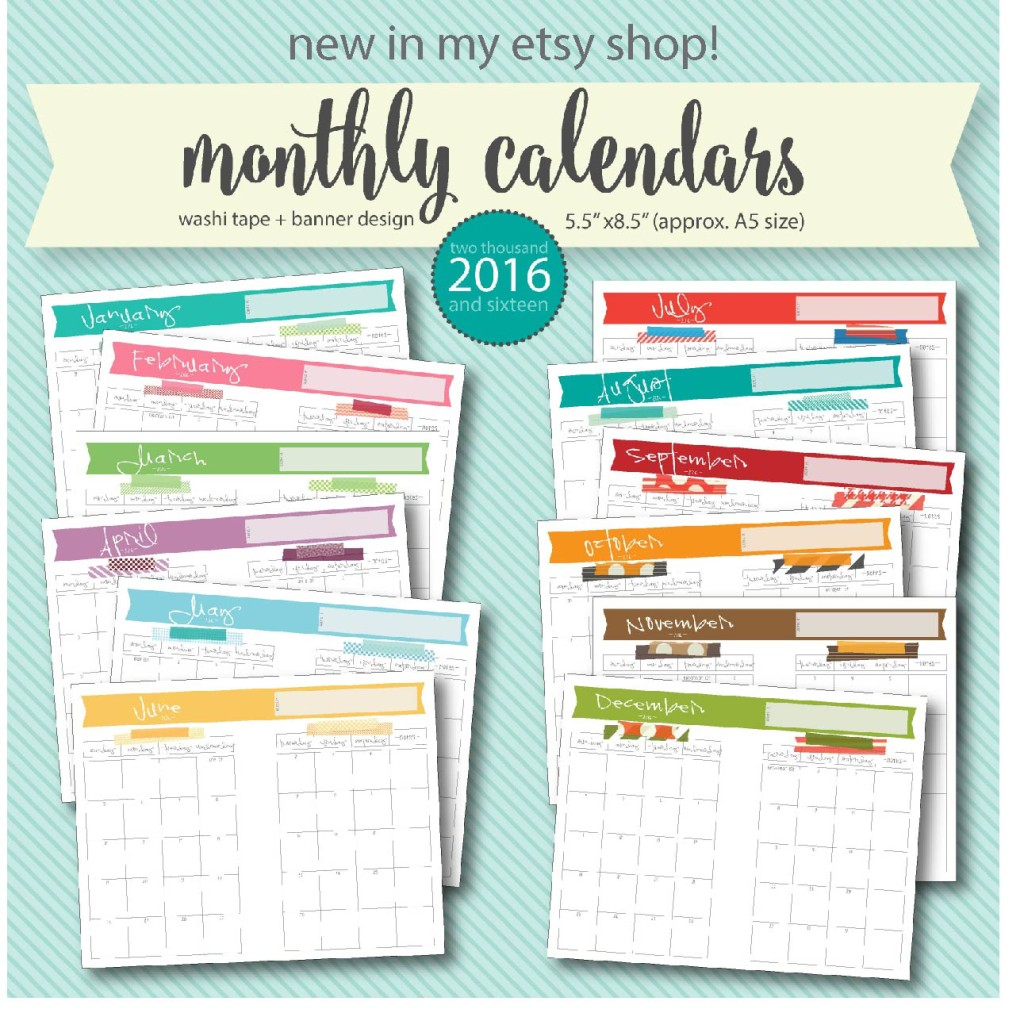 2016 Free Printable Calendars | Crafting in the Rain
