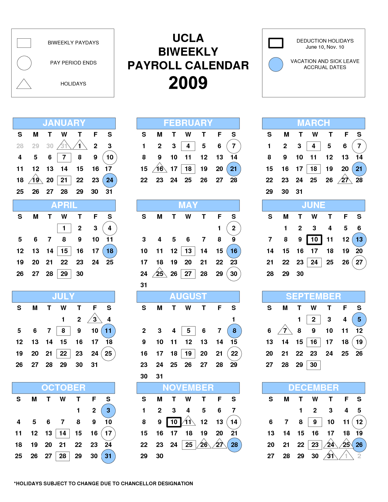 Payroll Calendar Template : UCLA Bi Weekly Payroll Calendar 2015