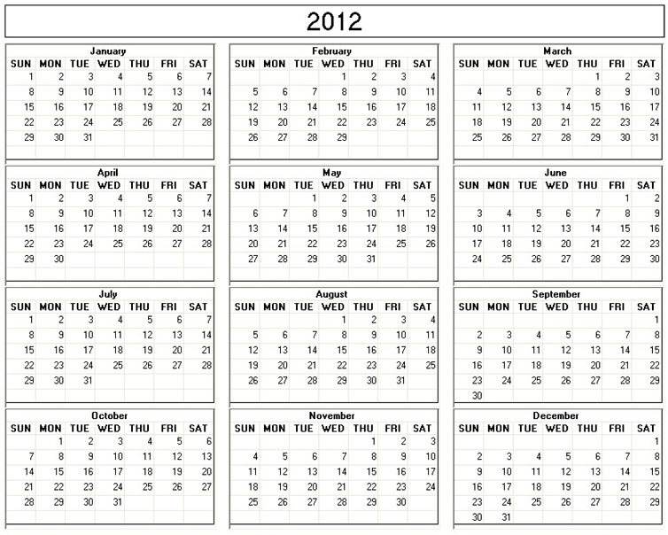 7 Best Images of Free Printable Month Calendar 2012 Free