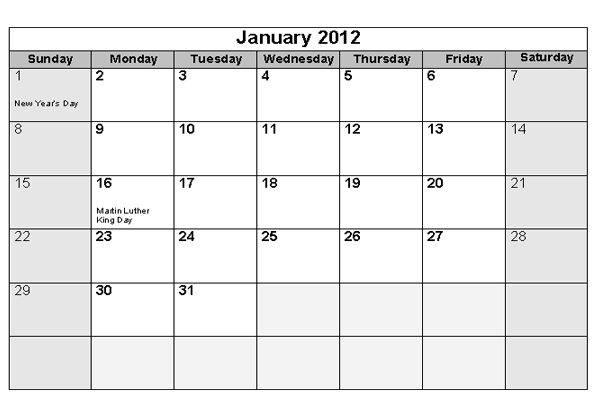 Free download printable 2012 monthly calendar & 2012 yearly