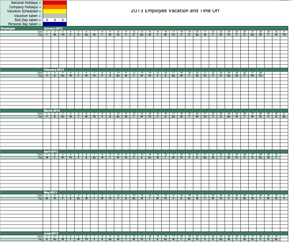 2013 Employee Vacation Tracking Calendar Template