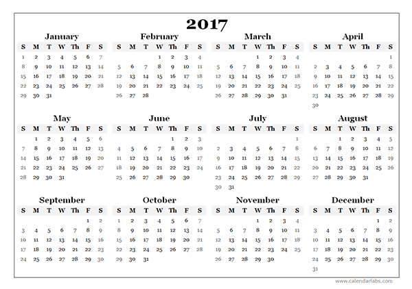 template for calendar 2017