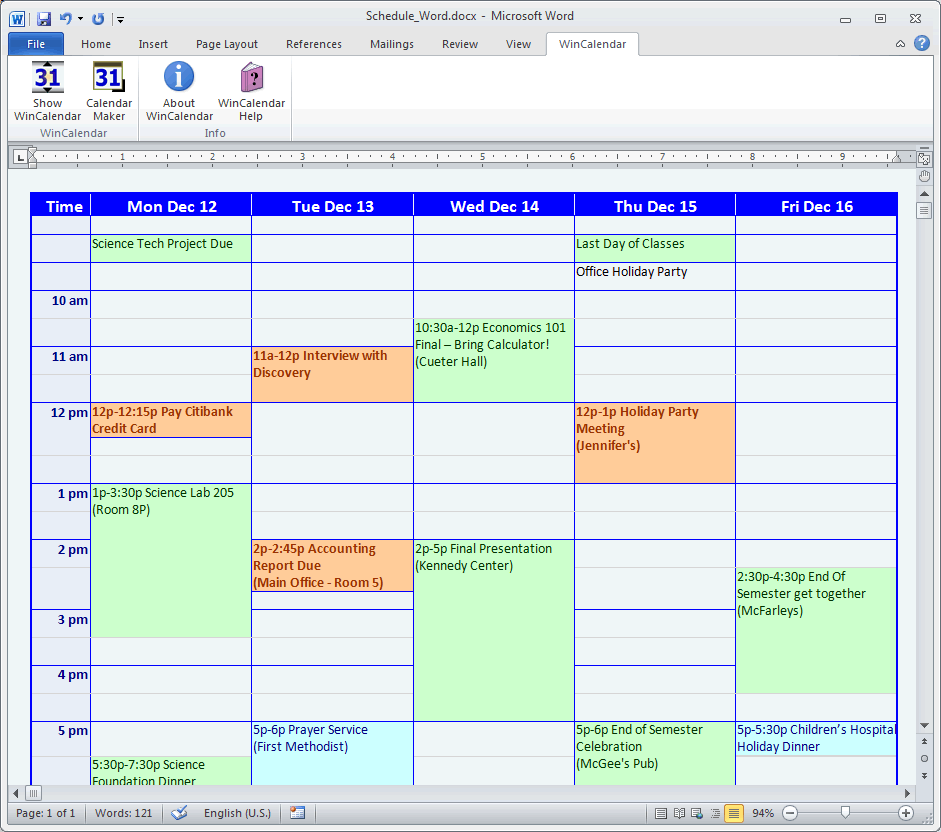 Business Calendar Template 2015
