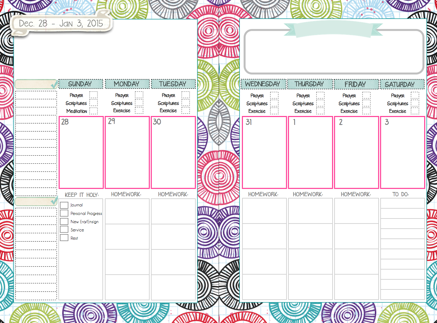 Weekly Homework Planner Template
