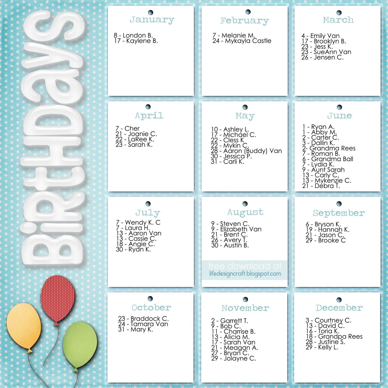 Birthday Calendars 7 Free Printable Word Templates – Birthday Word Template