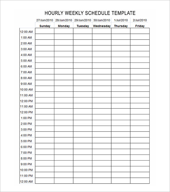 weekly calendars with hours