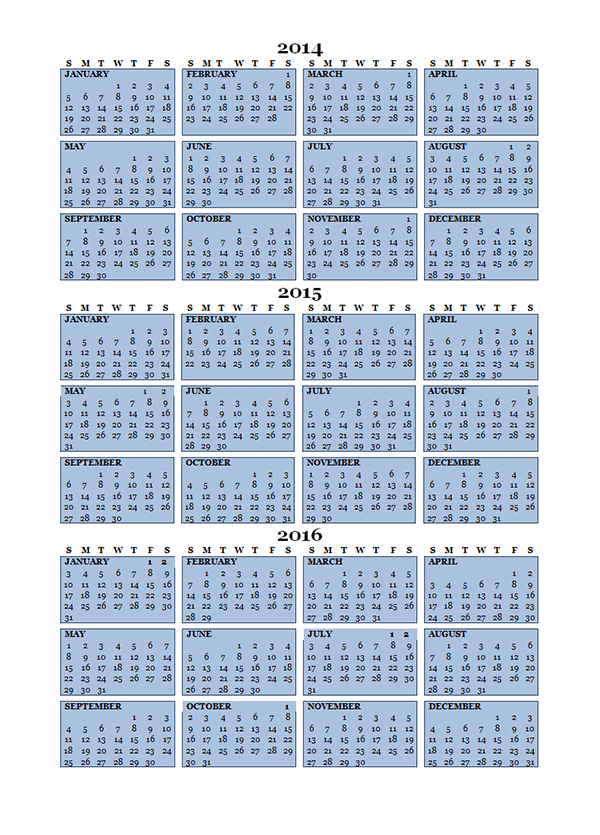 2015 Three Year Calendar Free Printable Templates
