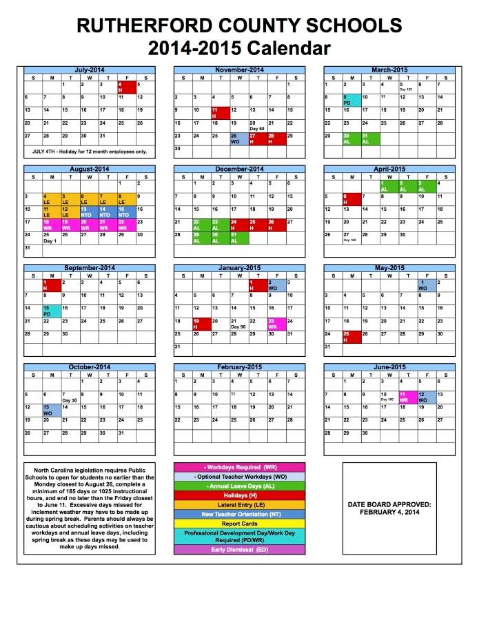 2014 2015 RCS School Calendar Cliffside Elementary School