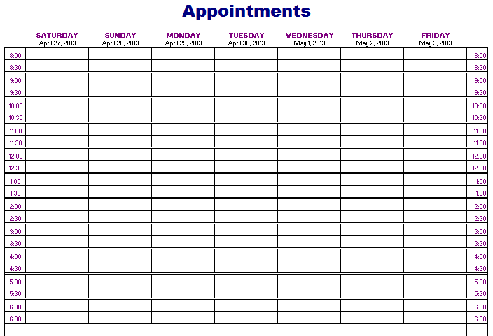picture regarding Printable Appointment Calendar named Absolutely free Printable Appointment Calendar Calendar Template 2019