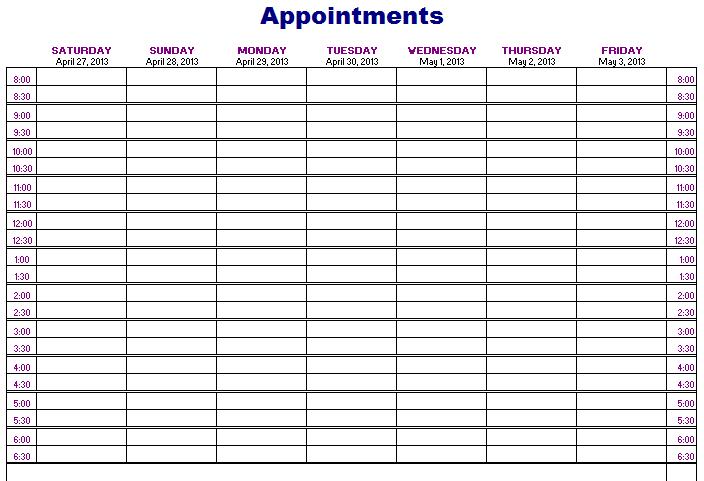 printable scheduling calendar