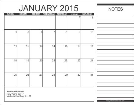 January 2016 Calendar Template Free printable calendar