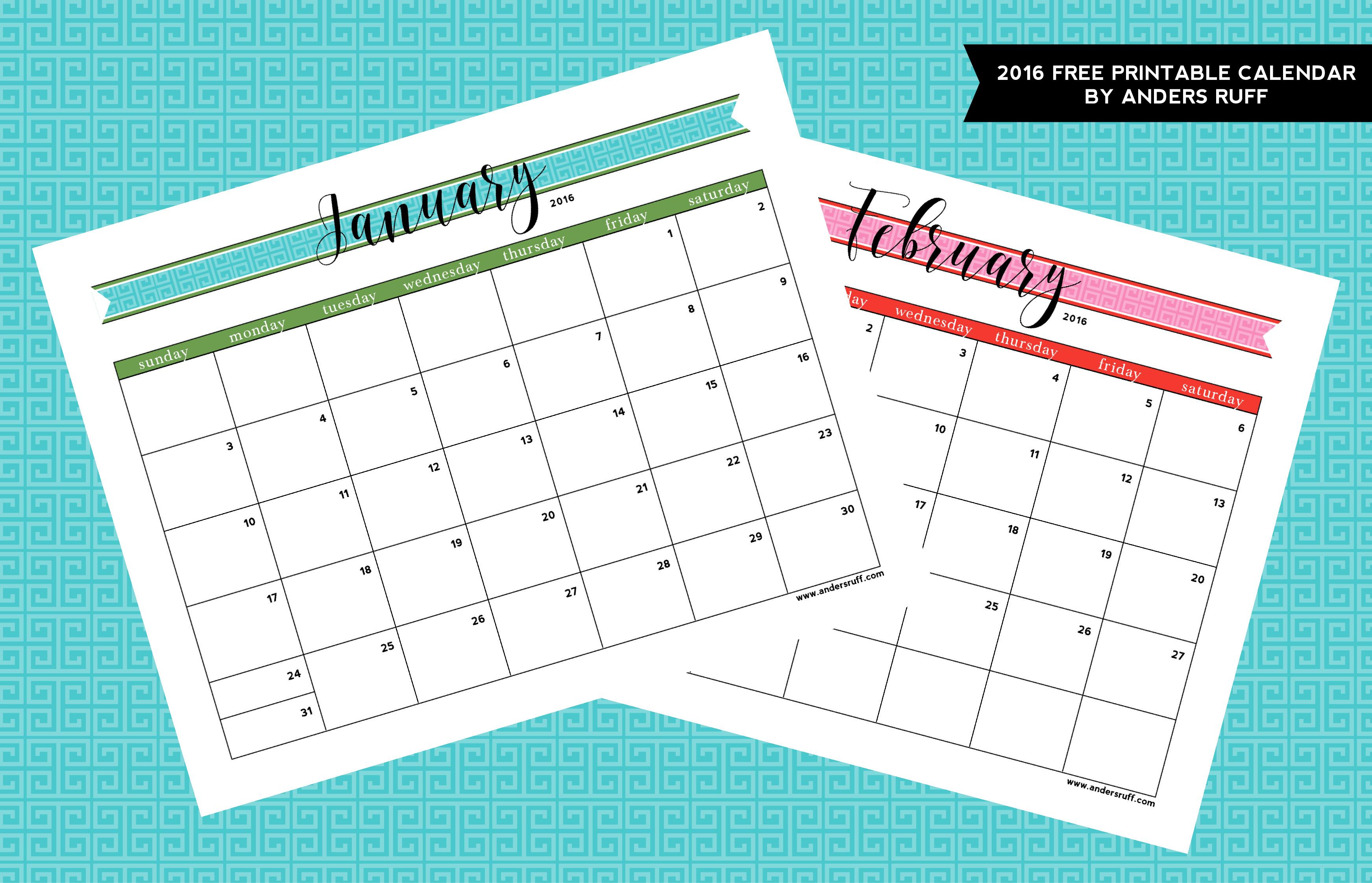 Ruff Draft: 2016 Free Printable Calendar Anders Ruff Custom
