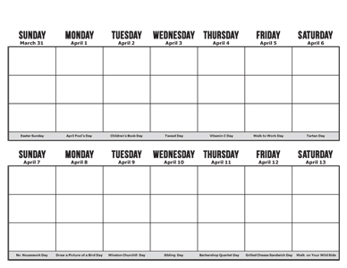 Printable Two week Calendar (half page)