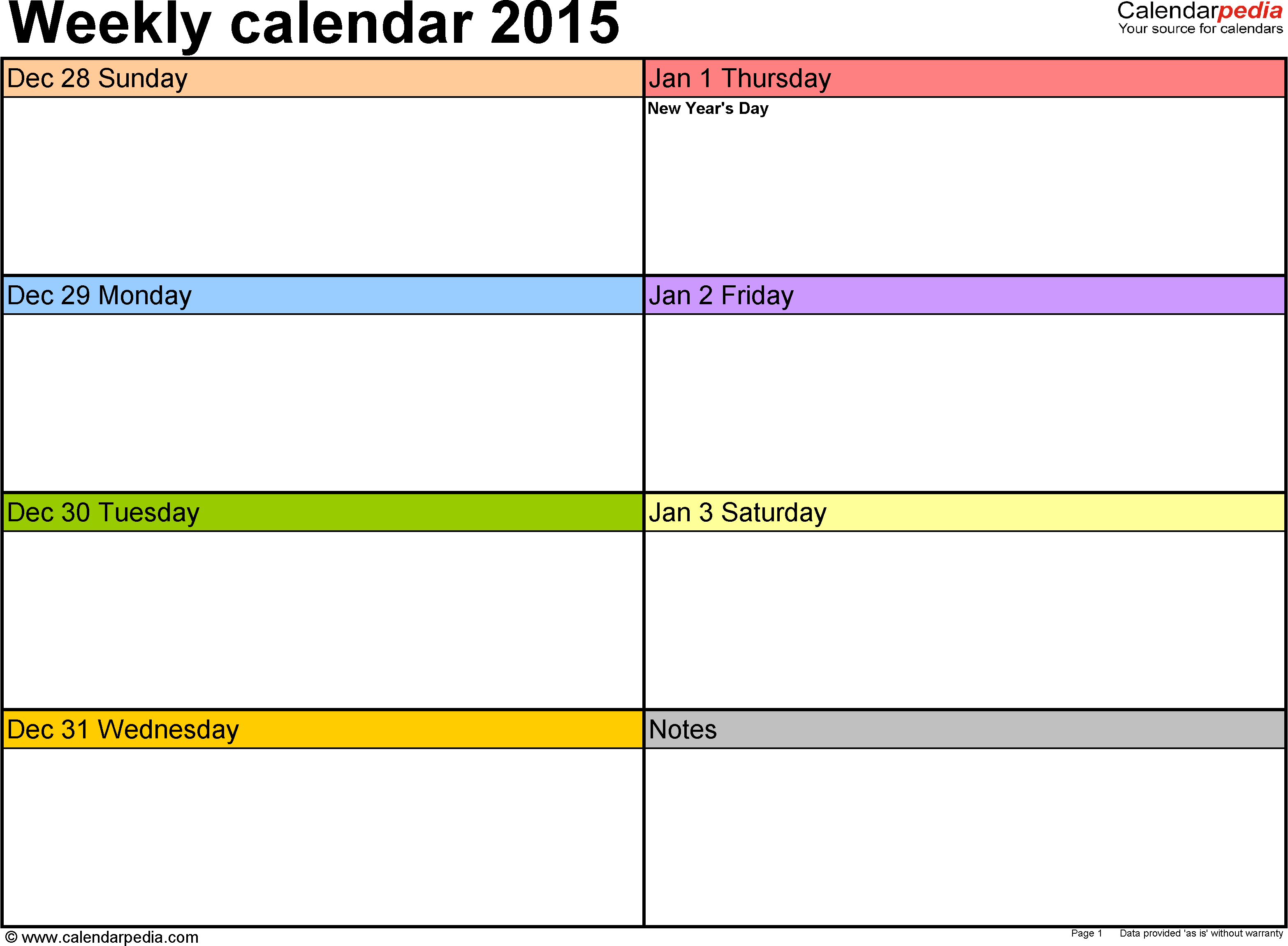 Weekly calendar 2015 for Word 12 free printable templates