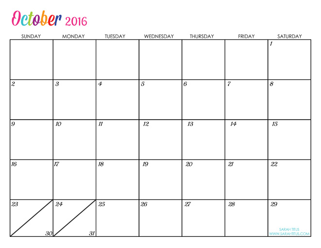 Custom Editable Free Printable 2016 Calendars Sarah Titus