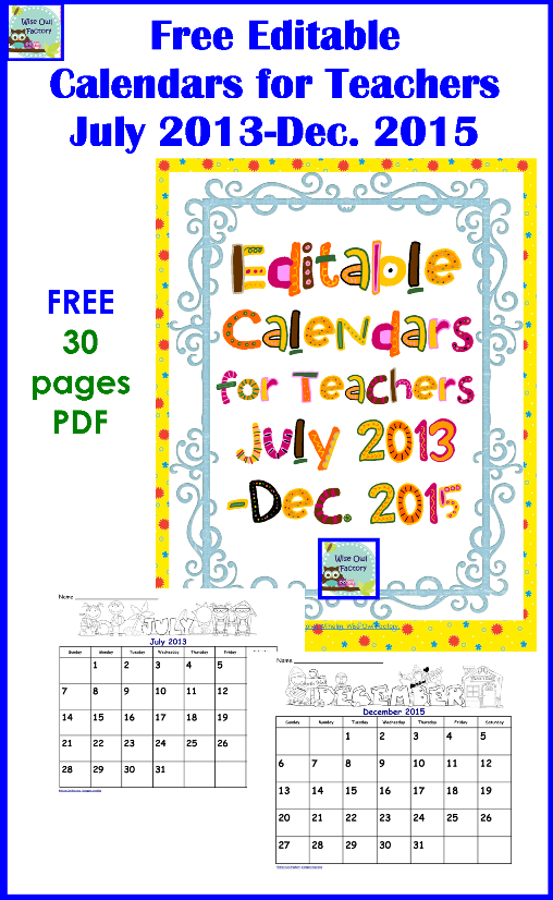 6 Best Images of 2015 Printable Calendars For Teachers Free