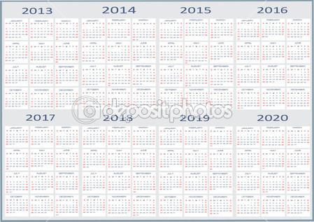 2013 To 2020 Calendar 5 Best Images Of Year 2020 Calendar Printable 2020 Calendar