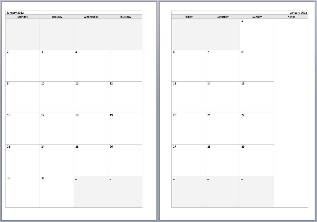 DIY 2016 Calendars Ideas A5 Filofax Printable MONTH ON TWO pages