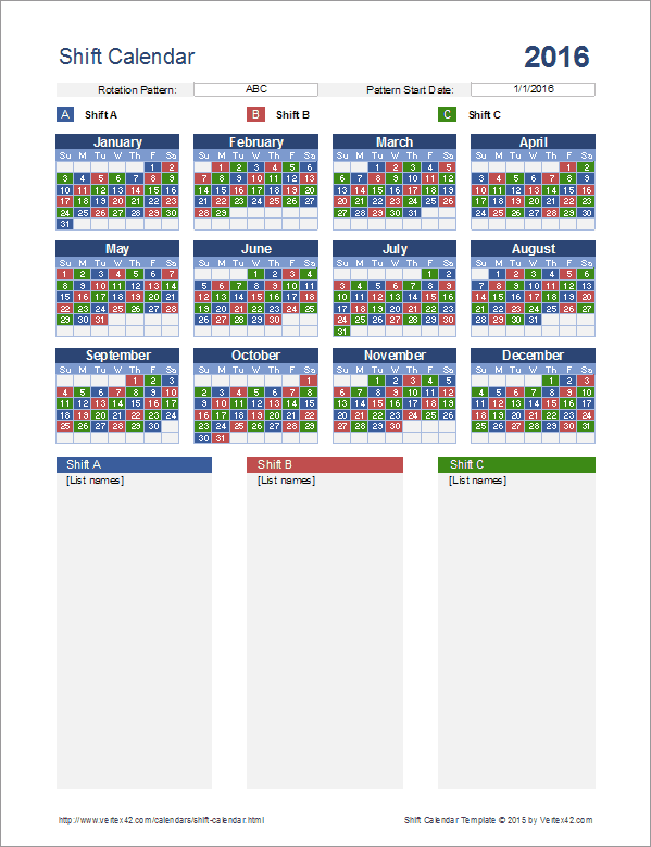 Shift Calendar Template