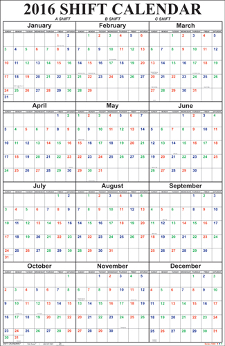 Poster Style Shift Calendar.