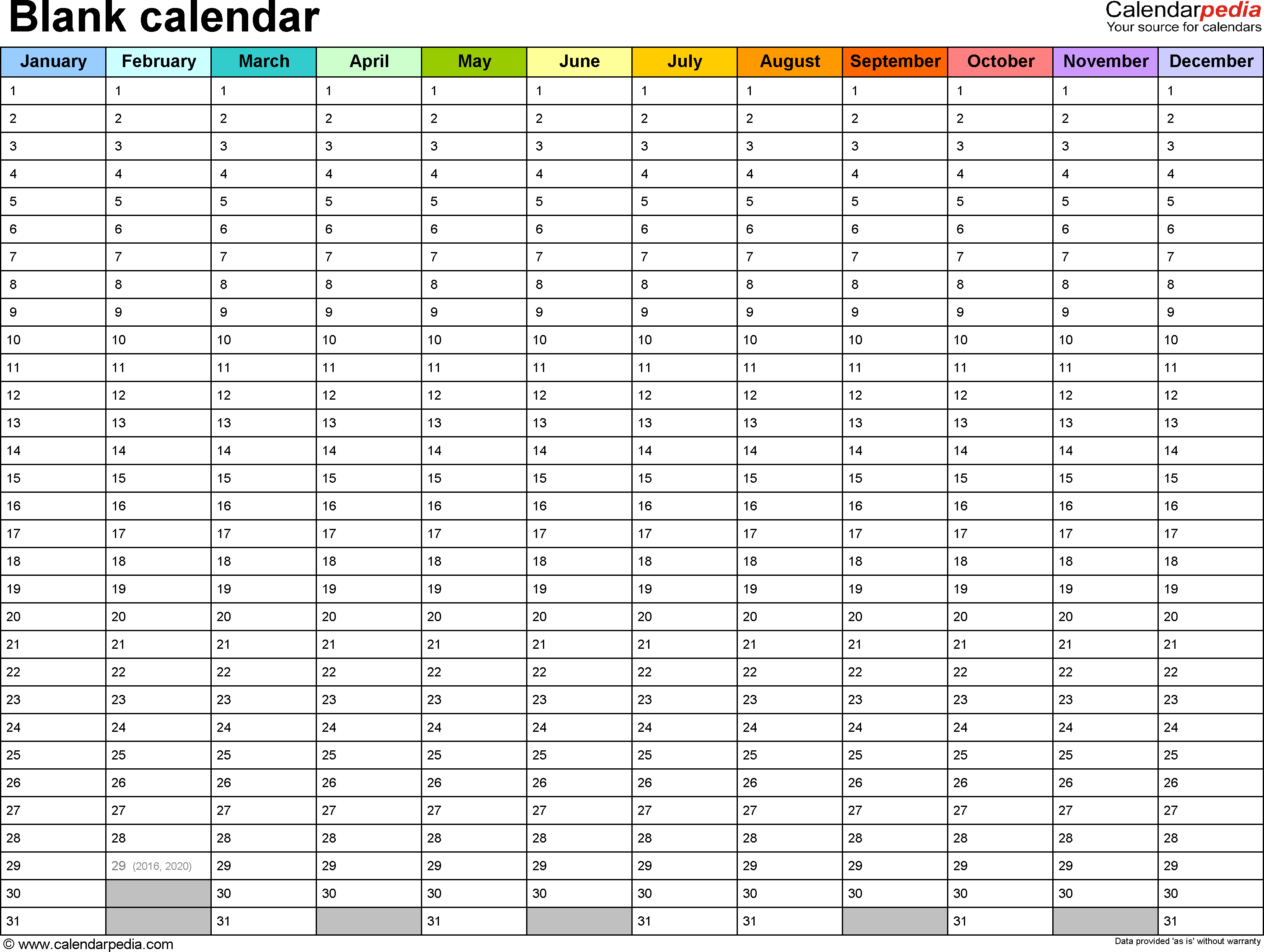 Blank Calendar Template – Free Printable Blank Monthly Calendars