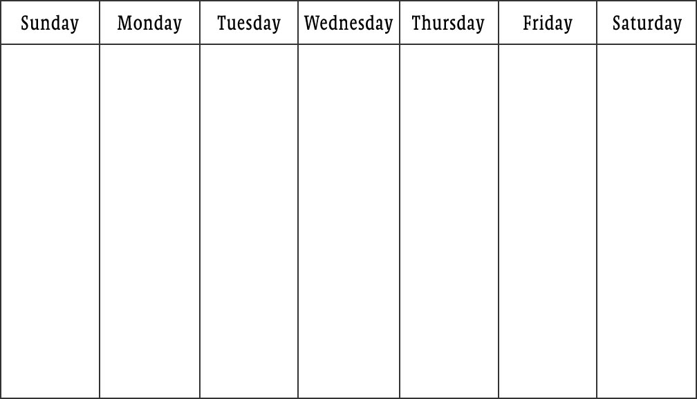 Printable Weekly Calendar (Sunday Saturday)