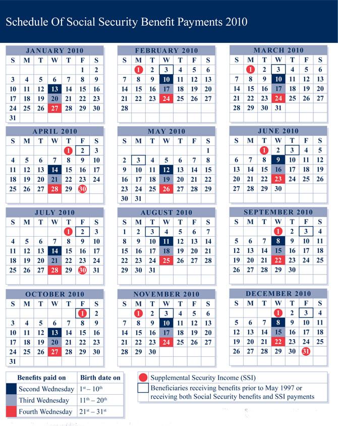 Benefit Payment Calendar |