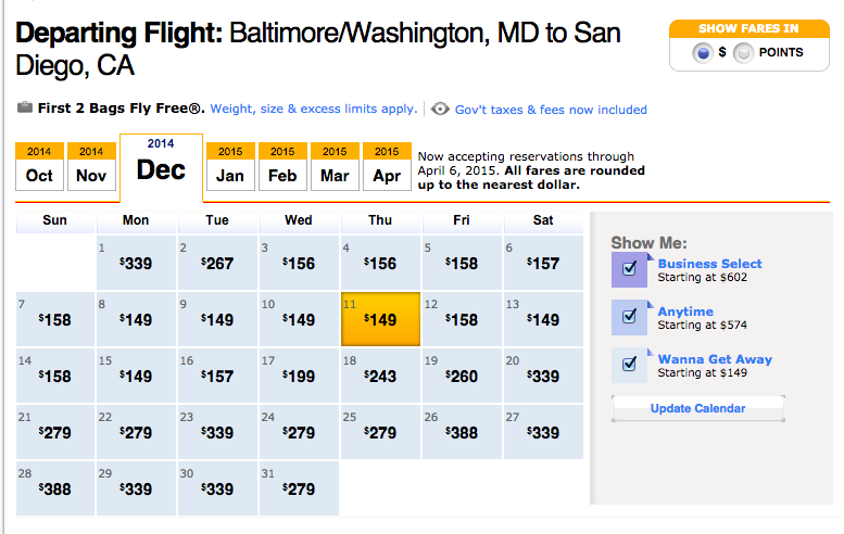 Blitz Deal: Southwest Airlines Dec 2014 – Feb 2015 Fares on Sale