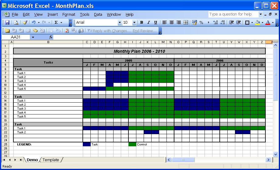 OfficeHelp template (00031) Calendar Templates 2005 / 2010