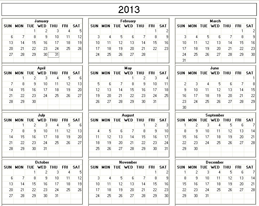 2013 calendar printable one page pdf