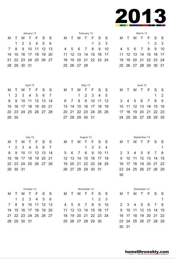6 Best Images of 2013 Printable Calendar Weekly Classes 2013