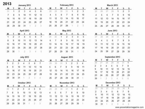 Free 2013 printable calendar template
