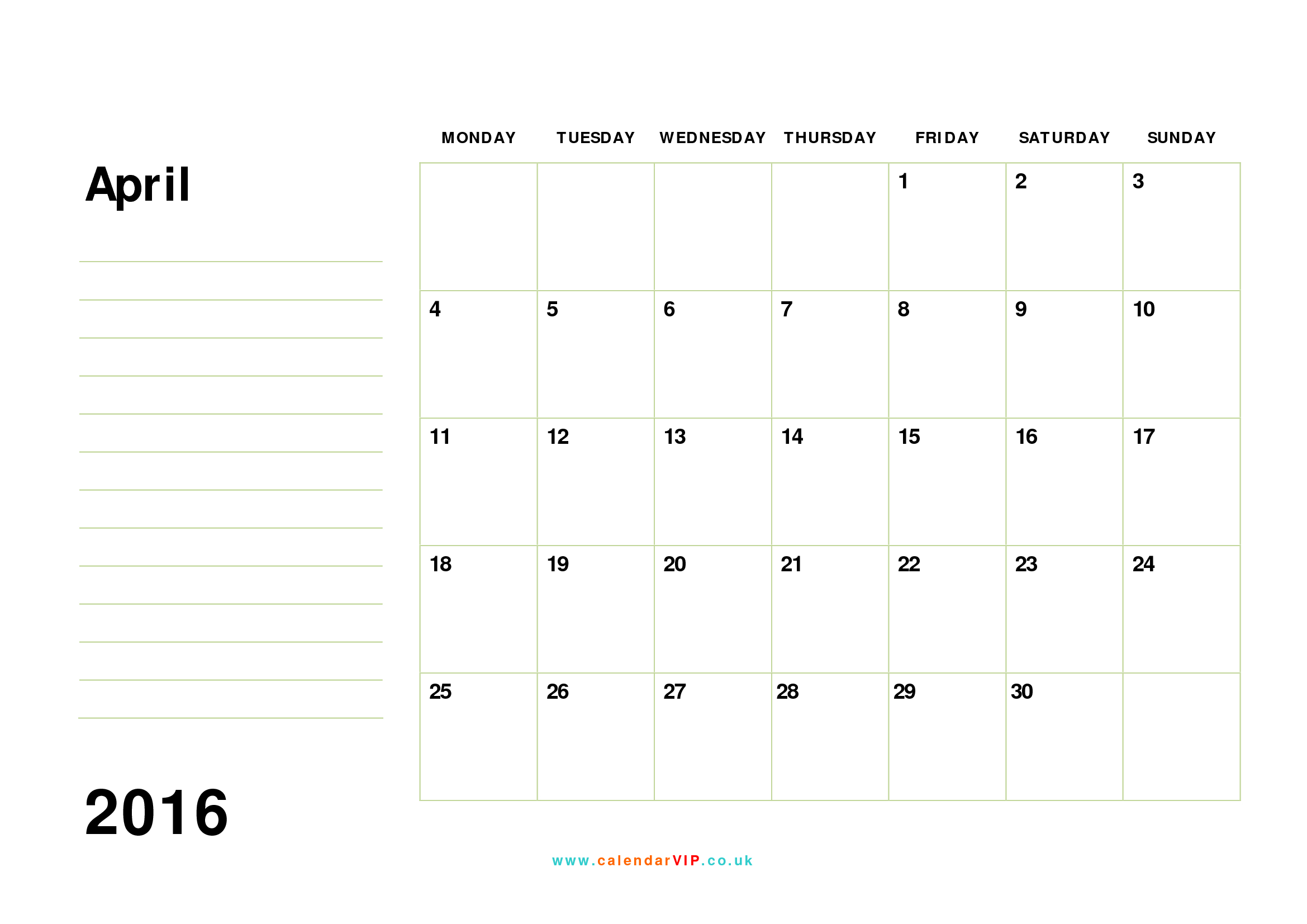 April 2016 Calendar Free Monthly Calendar Templates for UK