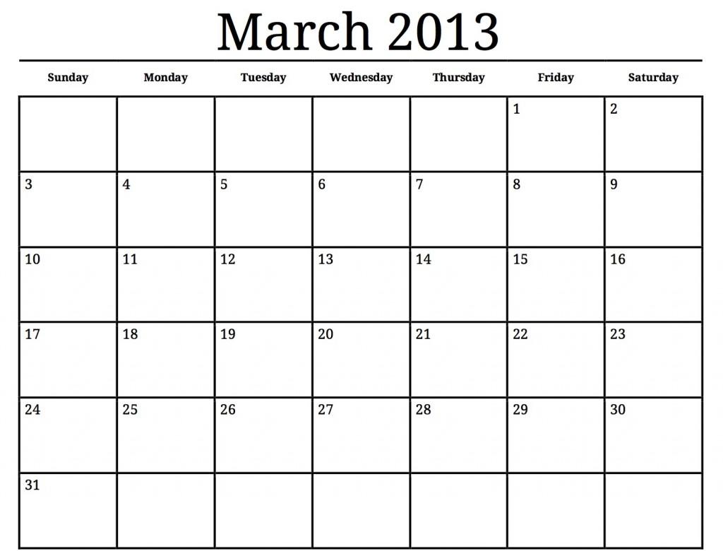 Blank Calendar Blocks : Big block printable calendar template
