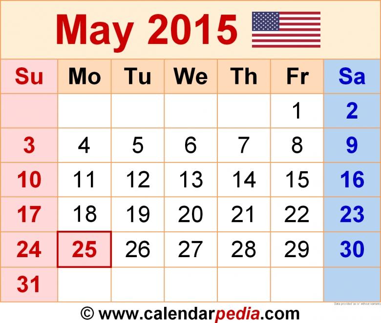 Calendar May 2015 Thru October 2015 : Free Calendar Template