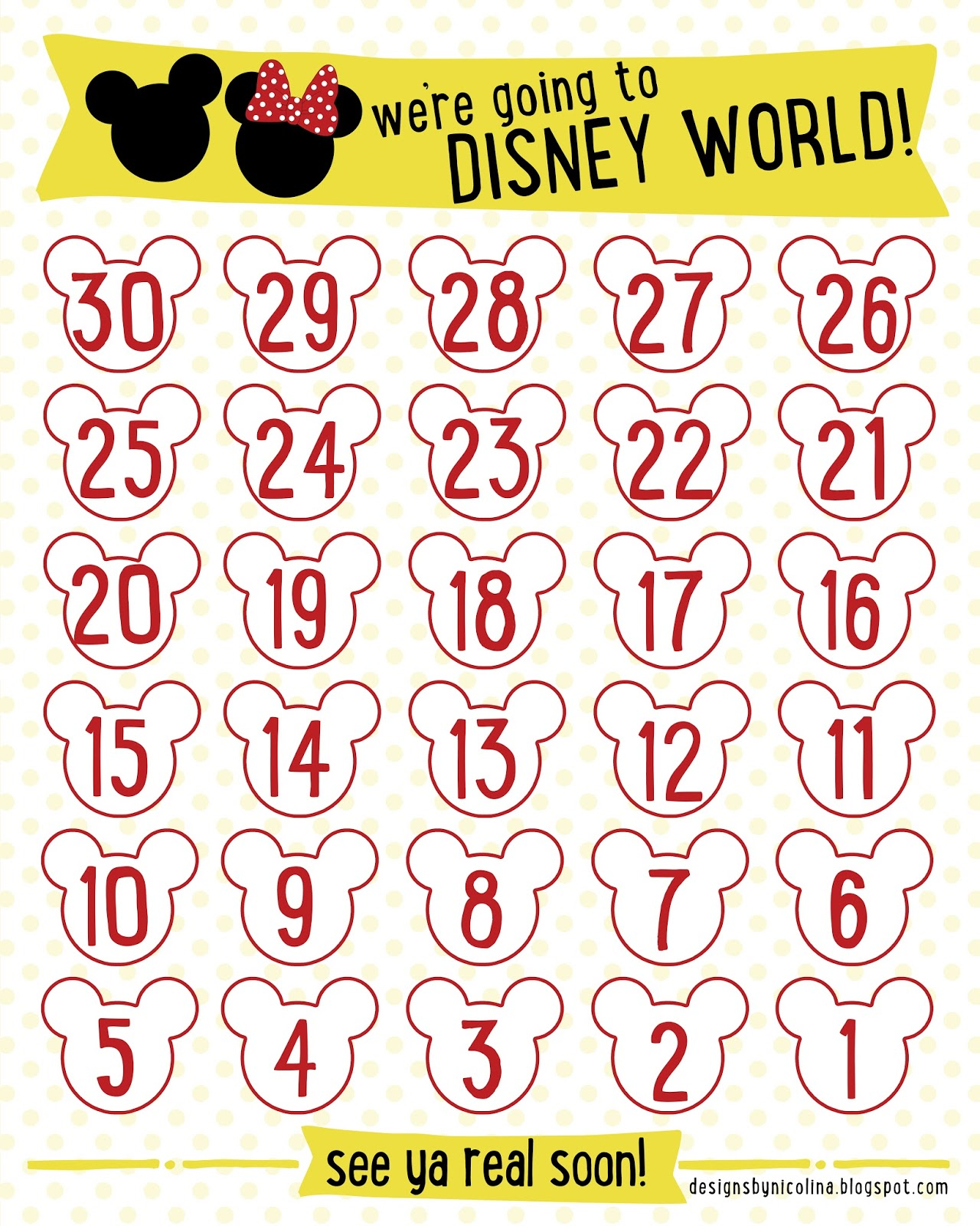 designs by nicolina: DISNEY COUNTDOWN! /// FREE PRINTABLE ///