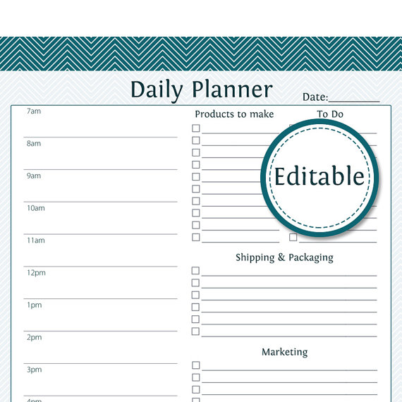 Daily Business Planner Fillable Business Planner by OrganizeLife