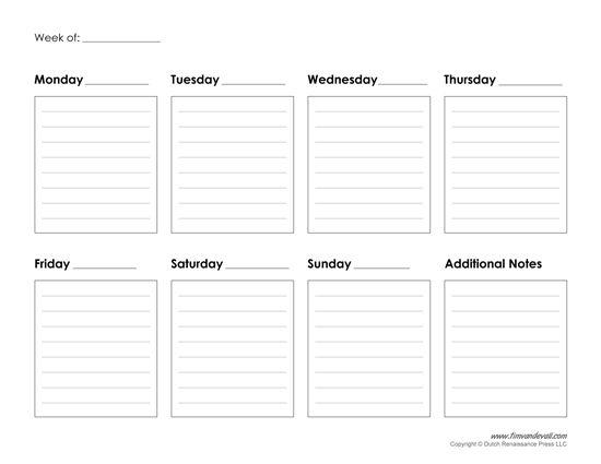 Blank Calendars Weekly Blank Calendar Templates