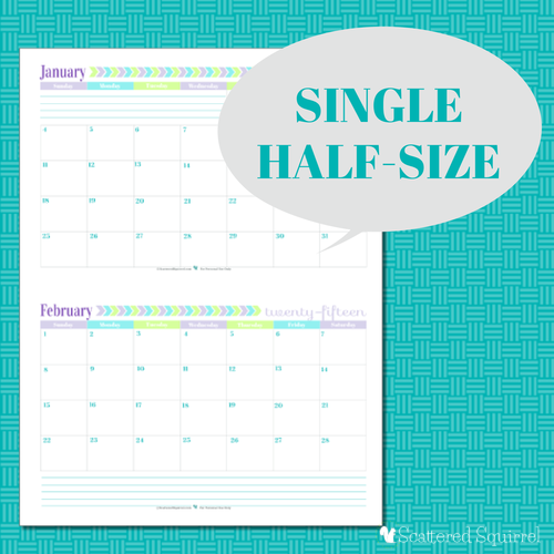 Half Page Monthly Calendar : Free printable calendar months per page