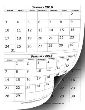 2016 Two Months per page vertical stacked printable calendar